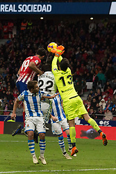 October 27, 2018 - Madrid, Madrid, Spain - Moya (R) take out the ball..during the match between Atletico de Madrid vs Real Sociedad. Atletico de Madrid won by 2 to 0 over Real Sociedad whit goals of Godin and Filipe Luis. (Credit Image: © Jorge Gonzalez/Pacific Press via ZUMA Wire)