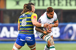 Pau's Jale Vatubua is tackled by Cardiff Blues' Josh Navidi<br /> <br /> Photographer Craig Thomas/Replay Images<br /> <br /> European Rugby Challenge Cup Round Semi final - Cardiff Blues v Pau - Saturday 21st April 2018 - Cardiff Arms Park - Cardiff<br /> <br /> World Copyright © Replay Images . All rights reserved. info@replayimages.co.uk - http://replayimages.co.uk