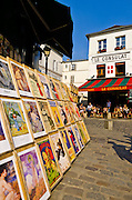 Antique prints and Le Consulat Restaurant in Montmartre, Paris, France