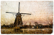 Kinderdijk Windmill, The Netherlands - Forgotten Postcard digital art European Travel collage