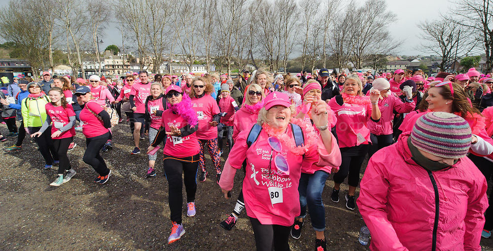 REPRO FREE<br /> Some of the 750 participants warming up for the 6th Kinsale Pink Ribbon Walk for Action Breast Cancer, a programme of the Irish Cancer Society.<br /> Picture. John Allen