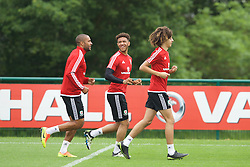 CARDIFF, WALES - Saturday, June 4, 2016: Wales' Ethan Ampadu [R], Tyler Roberts [C] and captain Ashley Williams during a training session at the Vale Resort Hotel ahead of the International Friendly match against Sweden. (Pic by David Rawcliffe/Propaganda)