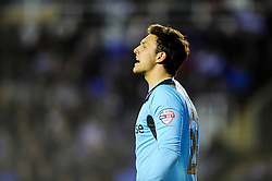 Alex McCarthy (ENG) of Reading looks frustrated - Photo mandatory by-line: Rogan Thomson/JMP - 07966 386802 - 14/04/2014 - SPORT - FOOTBALL - Madejski Stadium, Reading - Reading v Leicester City - Sky Bet Football League Championship.