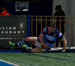 Owen Lane of Cardiff Blues scores his sides first try<br /> <br /> Photographer Simon King/Replay Images<br /> <br /> Guinness PRO14 Round 14 - Cardiff Blues v Connacht - Saturday 26th January 2019 - Cardiff Arms Park - Cardiff<br /> <br /> World Copyright © Replay Images . All rights reserved. info@replayimages.co.uk - http://replayimages.co.uk