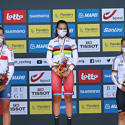 BRUGGE (BEL): CYCLING: SEPTEMBER 21th: <br /> Alena Ivanchenko is the world champion time trial in the junior women. On the World Cup course between Knokke-Heist and Bruges, the Russian was ten seconds faster than Britain's Zoe Bäckstedt. Germany's Antonia Niedermaier captured the bronze