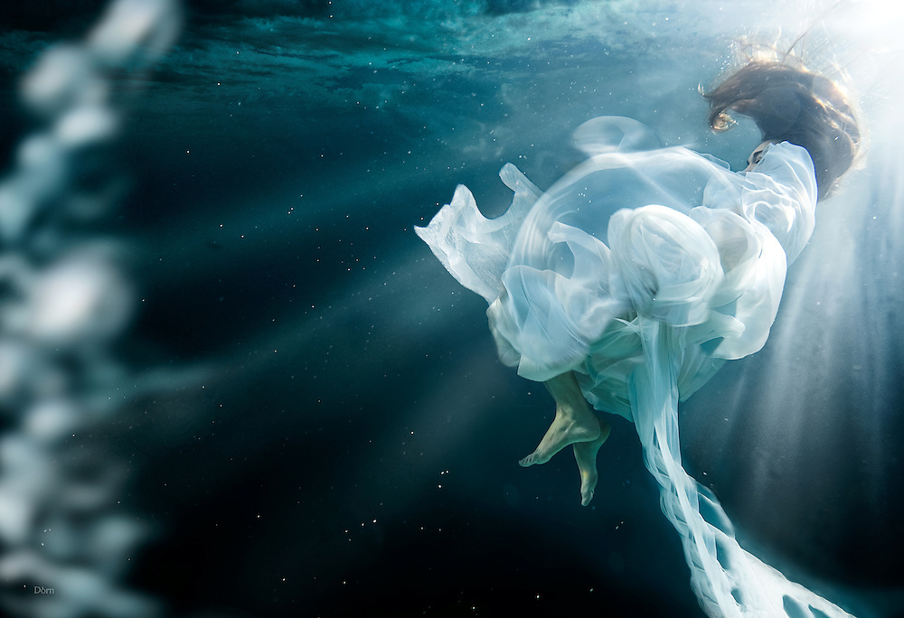 """""""UnderCurrents"""" A surrealistic underwater photo series by Nate Dorn Images.<br /> -Sleepwalking, Breath, & Pretty Bubbles."""