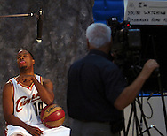 MORNING JOURNAL/DAVID RICHARD<br />New Cleveland Cavaliers point guard Damon Jones sticks out his tongue after making a mistake while recording a commercial for a television station during media day yesterday at Quicken Loans Arena.