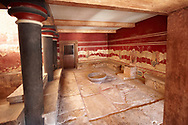 The so called Minoan 'Throne Room' or 'little throne room' Knossos Archaeological Site, Crete<br /> <br /> Reconstructed by Arthur Evans ..<br /> <br /> Visit our GREEK HISTORIC PLACES PHOTO COLLECTIONS for more photos to download or buy as wall art prints https://funkystock.photoshelter.com/gallery-collection/Pictures-Images-of-Greece-Photos-of-Greek-Historic-Landmark-Sites/C0000w6e8OkknEb8 <br /> .<br /> Visit our MINOAN ART PHOTO COLLECTIONS for more photos to download  as wall art prints https://funkystock.photoshelter.com/gallery-collection/Ancient-Minoans-Art-Artefacts-Antiquities-Historic-Places-Pictures-Images-of/C0000ricT2SU_M9w