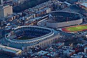 Yankee Stadium from the air at night.