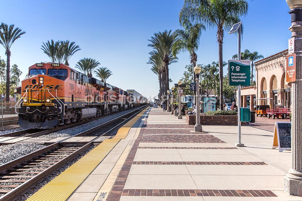 BNSF Railroad Train Stopped at Fullerton Santa Fe Depot
