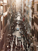 Via Condotti, and upmarket shopping street seen from the top of the Spanish Steps, Rome, Italy