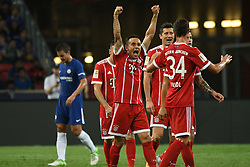 SINGAPORE, July 25, 2017  Players of Bayern Munich celebrate after scoring during the International Champions Cup soccer match between Chelsea and Bayern Munich in Singapore's National Stadium, on July 25, 2017. (Credit Image: © Then Chih Wey/Xinhua via ZUMA Wire)