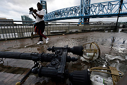Debris is left at Riverwalk Brooklyn, Jacksonville after flood water resides from parts of Jacksonville, FL after Hurricane Irma took an unexpected turn and caused massive power outages and coastal flooding around the state, on September 11, 2017.