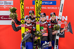 Anders Fannemel, Andreas Stjernen, Johann Andre Forfang and Robert Johansson of Norway celebrate at trophy ceremony after winning during the Ski Flying Hill Men's Team Competition at Day 3 of FIS Ski Jumping World Cup Final 2017, on March 25, 2017 in Planica, Slovenia. Photo by Vid Ponikvar / Sportida