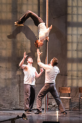 © Licensed to London News Pictures. 08/06/2015. London, UK. Hailing from Québec, renowned as the home of the modern circus discipline, The 7 Fingers (Les 7 Doigts de la Main) is one of the world's most inventive contemporary circus companies. After success with its previous show Sequence 8, the company returns to the Peacock Theatre with the critically acclaimed TRACES from Tuesday 9 June – Sunday 12 July 2015. Photo credit : Tony Nandi/LNP