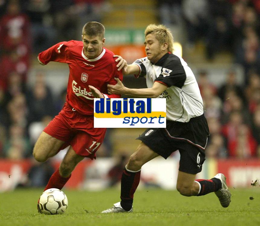 Photo Aidan Ellis, Digitalsport.<br /> Liverpool v Fulham.<br /> FA Barclaycard Premiership.<br /> 17/04/2004.<br /> Liverpool's Steven Gerrard and Fulham's Junichi Inamoto