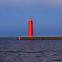 """""""South Pierhead Lighthouse""""<br /> <br /> Brilliant red South Pierhead Lighthouse stands tall in Muskegon Harbor on Lake Michigan in Muskegon!!<br /> <br /> Lighthouses of the Great Lakes by Rachel Cohen"""