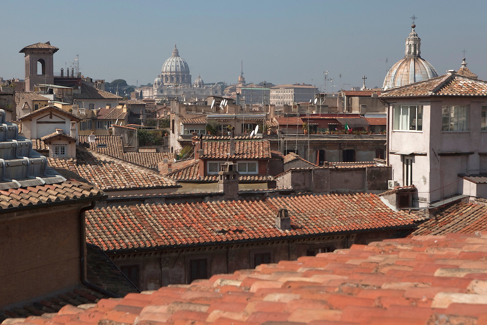 View of Rome from the rooftop terrace of  a building near Piazza Navona.
