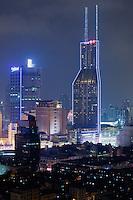 night scene of skyscrapers in Shanghai China