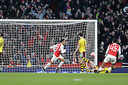 Alexis Sanchez of Arsenal scores his sides 2nd goal to make it 2-1. The Emirates FA cup, 4th round match, Arsenal v Burnley at the Emirates Stadium in London on Saturday 30th January 2016.<br /> pic by John Patrick Fletcher, Andrew Orchard sports photography.