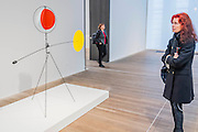 Red and Yellow Vane 1934 - Alexander Calder: Performing Sculpture. Calder was one of the truly ground-breaking artists of the 20th century and as a pioneer of kinetic sculpture, played an essential role in shaping the history of modernism. Alexander Calder: Performing Sculpture brings together approximately 100 works to reveal how Calder turned sculpture from a static object into a continually changing work to be experienced in real time. Highlights include: One of Calder's largest mobiles Black Widow 1948, which has never been shown in the UK before; Seven of Calder's influential panel works, which are being shown together for the first time; A selection of Calder's early wire portraits, which include those representing illustrious figures such as Joan Miró, Edgard Varése and Fernand Léger; and recently restored works which haven't been shown for decades, including Acrobats 1929. The exhibition is at Tate Modern from 11 November 2015 - 3 April 2016.