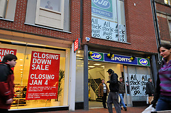 JJB Sports and Uniqlo shops on Broad Street; Reading during the Christmas sales, Uniqlo closing 18 of its national branches, Dec 2008