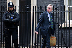 © Licensed to London News Pictures. 11/02/2019. London, UK. Chancellor of the Duchy of Lancaster Michael Gove arrives in Downing Street for a Cabinet meeting. Photo credit: George Cracknell Wright/LNP