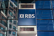 Royal Bank of Scotland, RBS, sign outside their head office in Bishopsgate, London, United Kingdom.