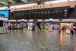 © Licensed to London News Pictures. 26/08/2017. London, UK. An empty Euston station in London, which is closed over the bank holiday weekend for upgrade work.  .Passengers travelling over the bank holiday have been warned not to use trains as major engineering work affecting several lines is predicted to cause travel chaos. Photo credit: Ben Cawthra/LNP