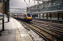 ScotRail Cross Country train arriving at Central Station in Glasgow, Scotland<br /> <br /> (c) Andrew Wilson | Edinburgh Elite media