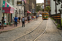 Trolly car on River Street, Savannah, Georgia, USA.