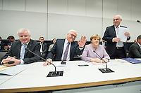11 FEB 2017, BERLIN/GERMANY:<br /> Horst Seehofer, CSU, Ministerpraesident Bayern, Frank-Walter Steinmeier, SPD, Kandidat fuer das Amt des Bundespraesidenten, Angela Merkel, CDU, Bundeskanzlerin, Volker Kauder, CDU, CDU/CSU Fraktionsvorsitzender, (v.L.n.R.), vor Beginn der CDU/CSU Fraktionssitzung am Vortag der Bundesversammlung, Reichstagsgebaeude, Deutscher Bundestag<br /> IMAGE: 20170211-01-021