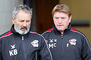 Scunthorpe United Manager Stuart McCall  and his Assistant Kenny Black prior to the EFL Sky Bet League 1 match between Scunthorpe United and Plymouth Argyle at Glanford Park, Scunthorpe, England on 27 October 2018. Pic Mick Atkins