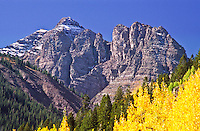 14,018 ft. Pyramid Peak during the autumn season.  Elk Mountains, Colorado.