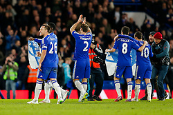 John Terry of Chelsea celebrates after Chelsea win 1-0 (2-1 on aggregate) after extra time to progress to the Final - Photo mandatory by-line: Rogan Thomson/JMP - 07966 386802 - 27/01/2015 - SPORT - FOOTBALL - London, England - Stamford Bridge - Chelsea v Liverpool - Capital One Cup Semi-Final Second Leg.
