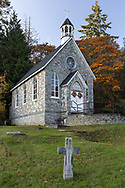 St. Paul's Church and cemetery at Fulford Harbour on Salt Spring Island, British Columbia, Canada.  The historic church was founded in 1878 and built between 1880 and 1885.  The cross in the foreground is part of the church cemetery and marks the resting place of Alan Blackburn (1865-1925).