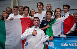October 8, 2018 - Buenos Aires, ARGENTINA - 181009 2018 Youth Olympic Games, Day 3: Davide Di Veroli ITA celebrates with Italian fans following his gold medal win in the Fencing Mens E?pe?e Individual Final in the Africa Pavilion, Youth Olympic Park. The Youth Olympic Games, Buenos Aires, Argentina Monday 8th October 2018. Photo: Florian Eisele for OIS/IOC. Handout image supplied by OIS/IOC  (Credit Image: © Florian Eisele For Ois/Bildbyran via ZUMA Press)