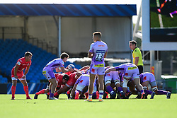 Jack Maunder of Exeter Chiefs feeds the ball in as Exeter Chiefs and Toulouse contend at the scrum - Mandatory by-line: Ryan Hiscott/JMP - 26/09/2020 - RUGBY - Sandy Park - Exeter, England - Exeter Chiefs v Toulouse - Heineken Champions Cup Semi Final