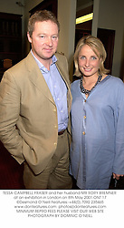 TESSA CAMPBELL FRASER and her husband MR RORY BREMNER at an exhibition in London on 8th May 2001.ONT 17