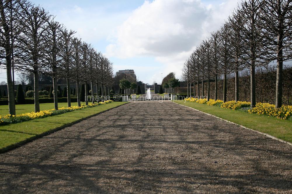 Formal gardens at The Irish Museum of Modern Art Royal Hospital Kilmainham in Dublin Ireland