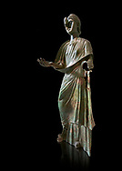 Bronze statue of Roman empress Julia Aquilia Severa found at Sparta. circa 221-222 AD.  Athens National Archaeological Museum, Cat No X23321. Against black<br /> <br /> The women in the Bronze statue wears a Chiton and himation and would have had a crwon on her head. The hair style is typical of the Severan dynisty. Julia Aquilia was the last wife of emperor Elagobalus (218-222 AD) and the damage to the statue is due to a building collapsing on it after a fire circa 221-222 AD .<br /> <br /> If you prefer to buy from our ALAMY STOCK LIBRARY page at https://www.alamy.com/portfolio/paul-williams-funkystock/greco-roman-sculptures.html . Type -    Athens    - into LOWER SEARCH WITHIN GALLERY box - Refine search by adding a subject, place, background colour, etc.<br /> <br /> Visit our ROMAN WORLD PHOTO COLLECTIONS for more photos to download or buy as wall art prints https://funkystock.photoshelter.com/gallery-collection/The-Romans-Art-Artefacts-Antiquities-Historic-Sites-Pictures-Images/C0000r2uLJJo9_s0