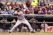 Dustin Pedroia #15 of the Boston Red Sox bats against the Minnesota Twins on May 17, 2013 at Target Field in Minneapolis, Minnesota.  The Red Sox defeated the Twins 3 to 2.  Photo: Ben Krause