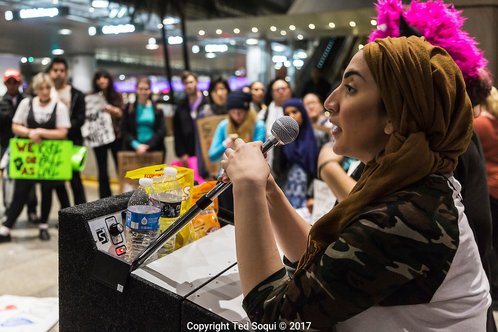 Zahra Nawab. protester.<br /> Immigrants from countries on the anti-travel Muslim ban return to the US at LAX airport.