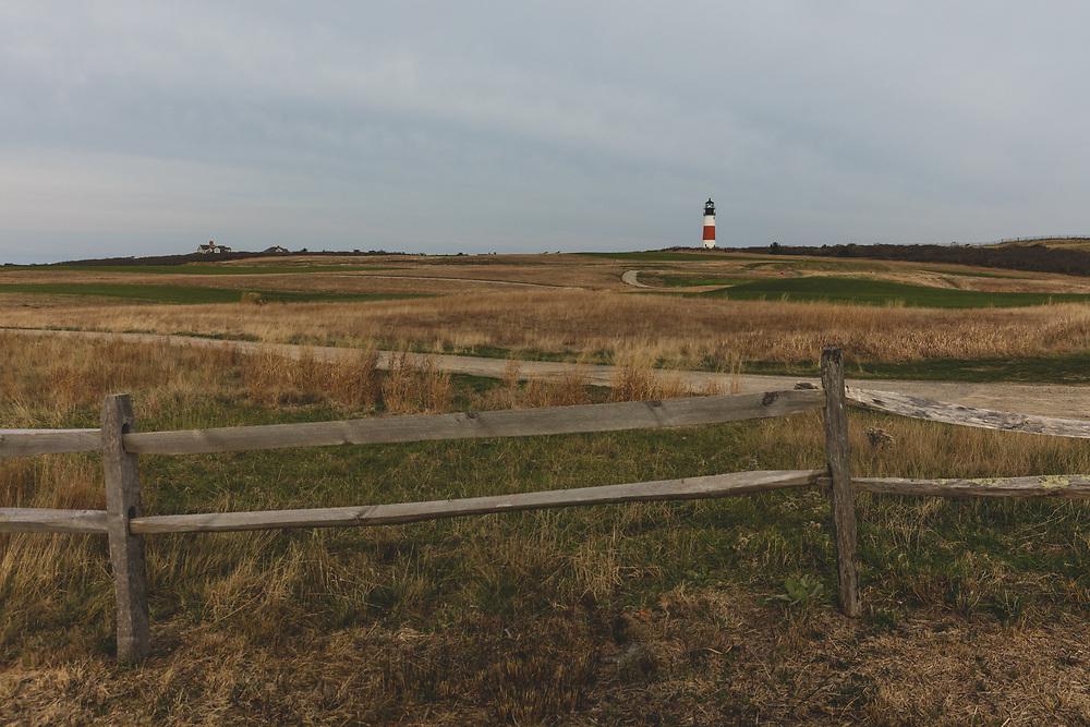 Sankaty Head landscape seen in the distance along the seaside landscape of Nantucket.