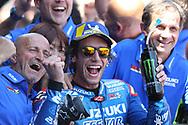 #42 Alex Rins, Spanish: Team Suzuki Ecstar celebrate their 2nd place  during the MotoGP Gran Premio Red Bull de Espana at Circuito de velocidad de Jerez, Jerez De La Frontera, Spain on 4 May 2019.