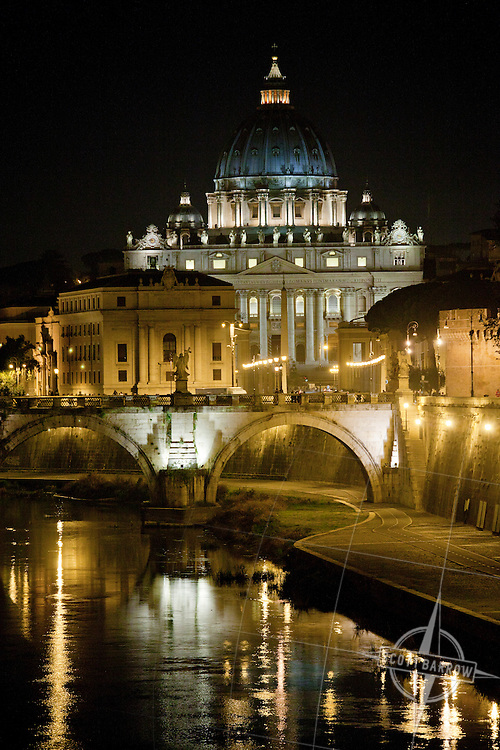 Saint Peter's Basilica seen from the Tiber River in Rome, Italy.