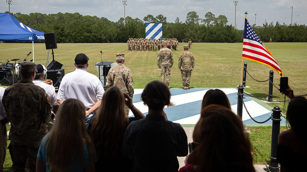 FORT STEWART, GA - JULY 17, 2019: Family members cheer soldiers of the Macon-based 48th Infantry Brigade Combat Team, Wednesday, July 17, 2019, during a homecoming for the unit at Ft. Stewart, Ga. (AJC Photo/Stephen B. Morton)