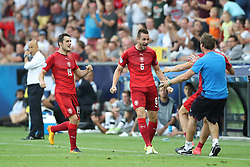 Czech Republic's Michael Luftner (centre) celebrates scoring his side's third goal of the game