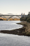The Patterson Bridge at Gold Beach crosses where the Rogue River meets the ocean.
