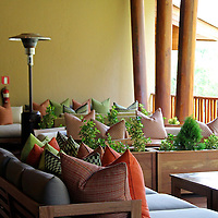 South America, Peru, Urubamba. Patio Balcony at Tambo del Inka Resort & Spa in the Sacred Valley.